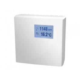CO2 und Temperaturfühler für den Innenraum mit Messbereichsumschaltung, aktiver Ausgang (0-10 V oder 4-20 mA)