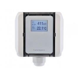 CO und Temperaturfühler für Luftkanäle mit Messbereichsumschaltung, aktiver Ausgang (0-10 V oder 4-20 mA)