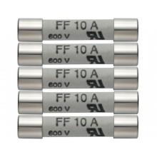 Ersatz-Sicherungen 10 A / 600 V - 5 Stück