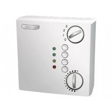 Raumtemperaturfühler mit Poti, 4-Stufendrehschalter, Wippenschalter, 4 Taster, und 4 LEDs